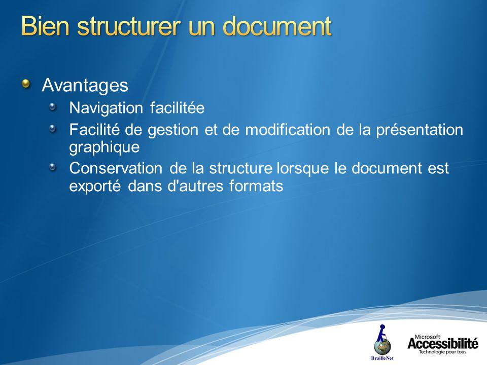 Avantages Navigation facilitée Facilité de gestion et de modification de la présentation graphique Conservation de la structure lorsque le document est exporté dans d autres formats