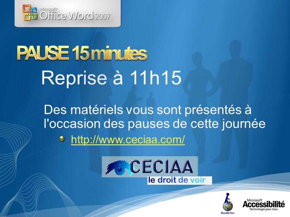 Reprise à 11h15 Des matériels vous sont présentés à l occasion des pauses de cette journée http://www.ceciaa.com/