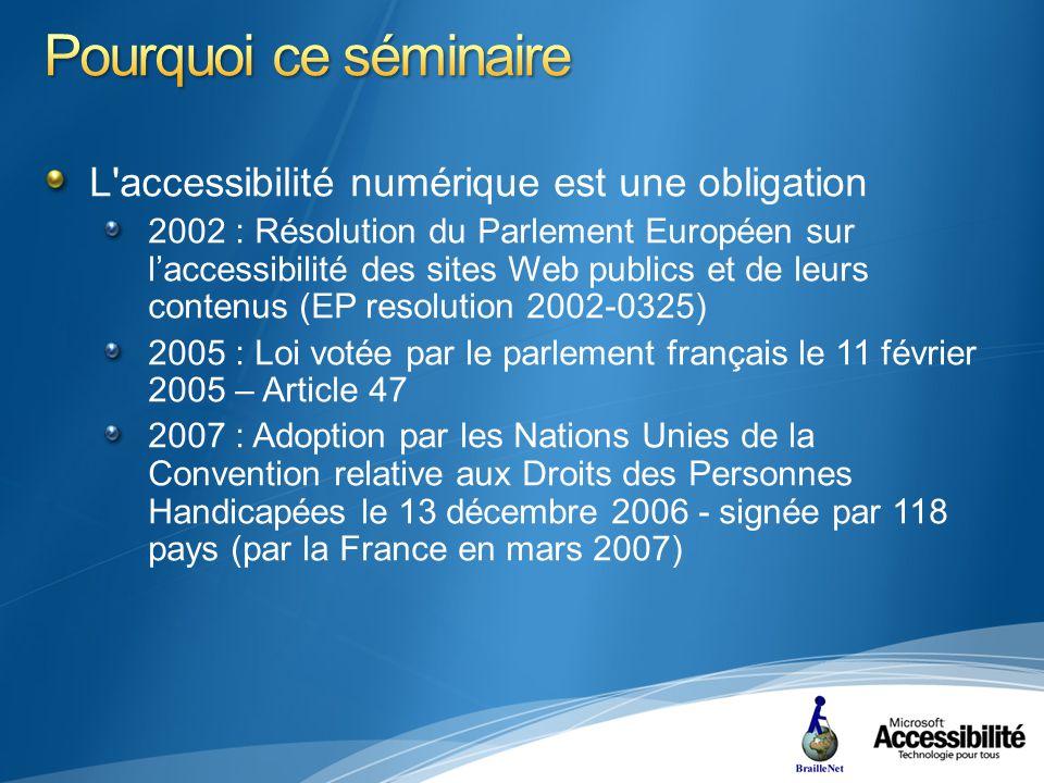 L accessibilité numérique est une obligation 2002 : Résolution du Parlement Européen sur laccessibilité des sites Web publics et de leurs contenus (EP resolution 2002-0325) 2005 : Loi votée par le parlement français le 11 février 2005 – Article 47 2007 : Adoption par les Nations Unies de la Convention relative aux Droits des Personnes Handicapées le 13 décembre 2006 - signée par 118 pays (par la France en mars 2007)