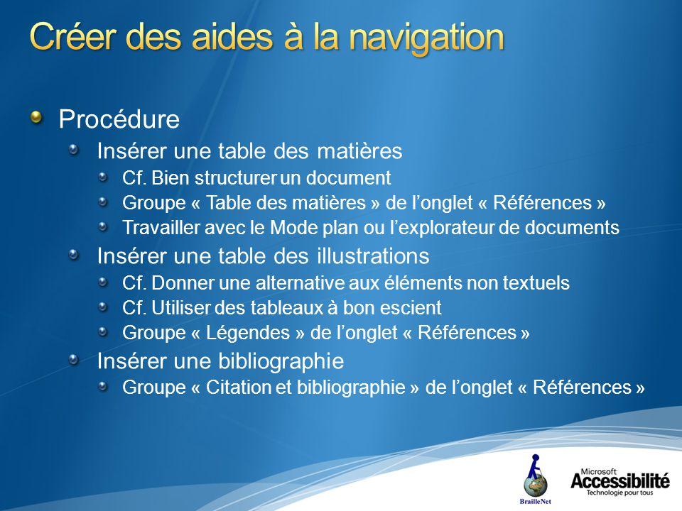 Procédure Insérer une table des matières Cf.
