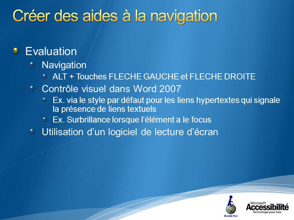 Evaluation Navigation ALT + Touches FLECHE GAUCHE et FLECHE DROITE Contrôle visuel dans Word 2007 Ex.