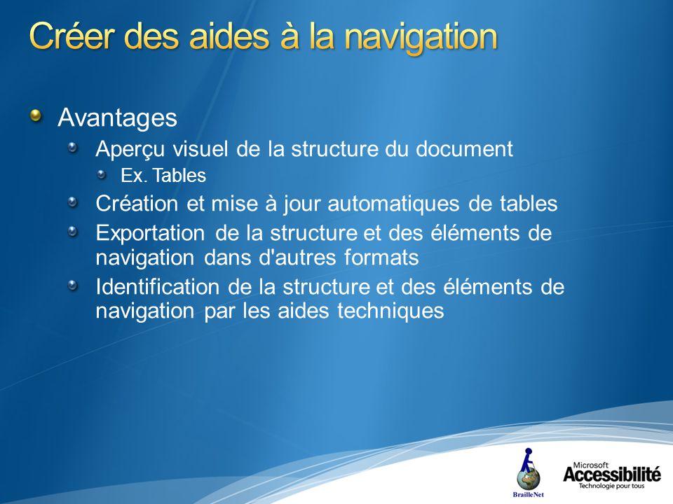 Avantages Aperçu visuel de la structure du document Ex.