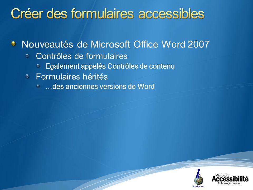 Nouveautés de Microsoft Office Word 2007 Contrôles de formulaires Egalement appelés Contrôles de contenu Formulaires hérités …des anciennes versions de Word
