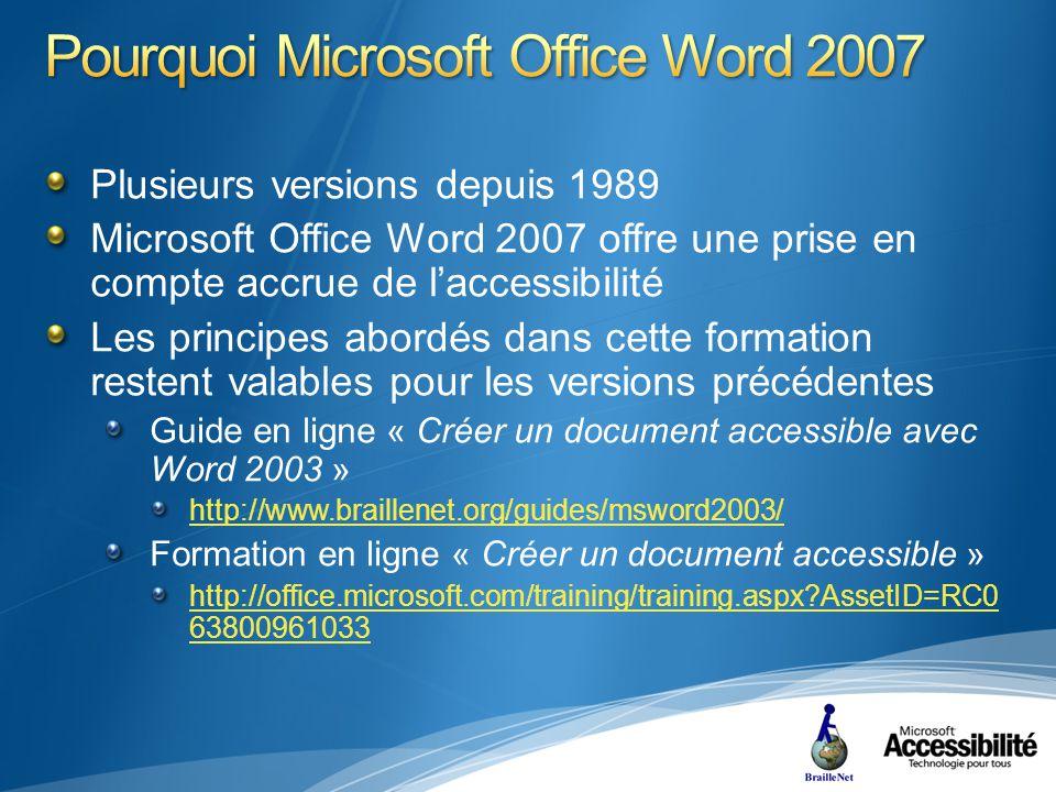Plusieurs versions depuis 1989 Microsoft Office Word 2007 offre une prise en compte accrue de laccessibilité Les principes abordés dans cette formation restent valables pour les versions précédentes Guide en ligne « Créer un document accessible avec Word 2003 » http://www.braillenet.org/guides/msword2003/ Formation en ligne « Créer un document accessible » http://office.microsoft.com/training/training.aspx AssetID=RC0 63800961033