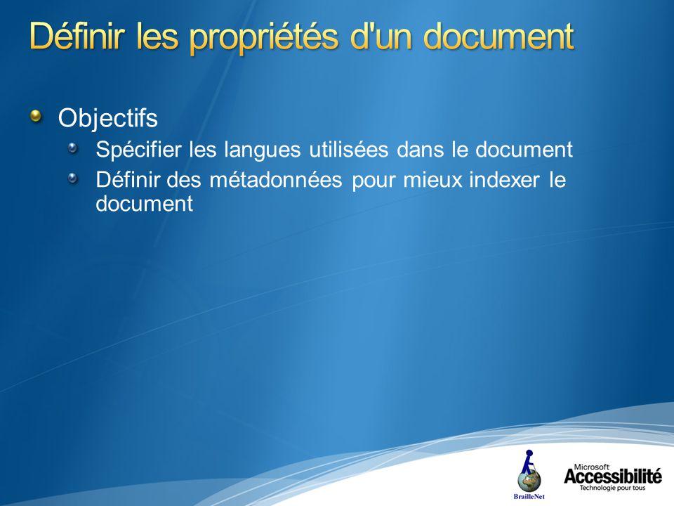 Objectifs Spécifier les langues utilisées dans le document Définir des métadonnées pour mieux indexer le document