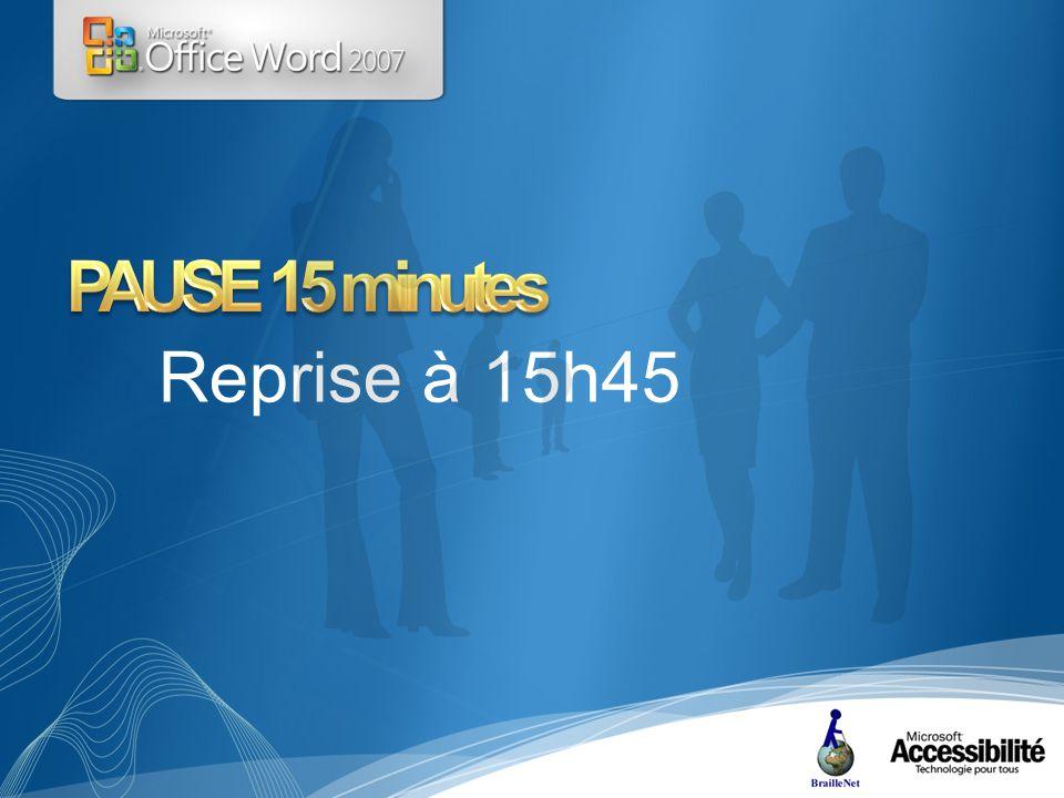 Reprise à 15h45