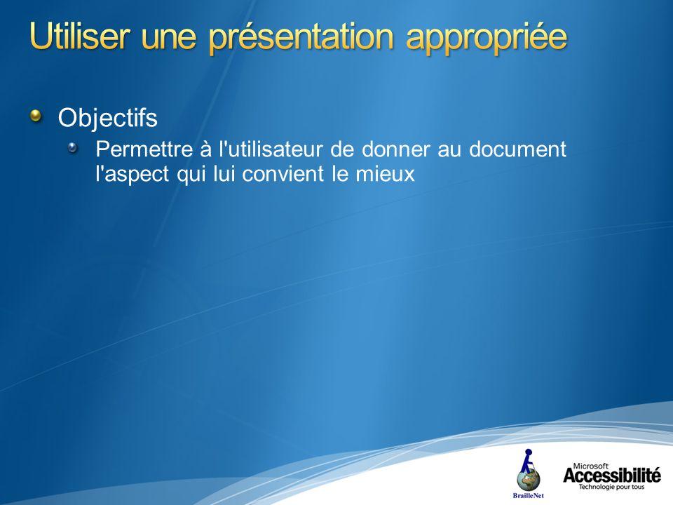Objectifs Permettre à l utilisateur de donner au document l aspect qui lui convient le mieux