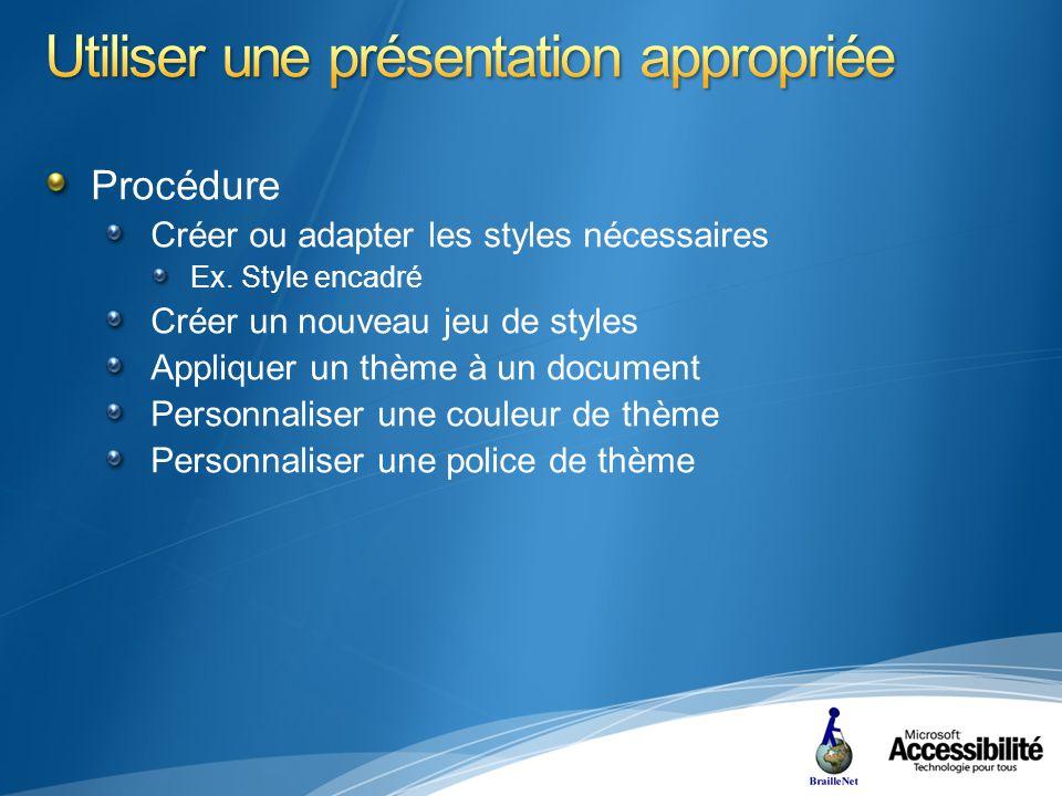 Procédure Créer ou adapter les styles nécessaires Ex.