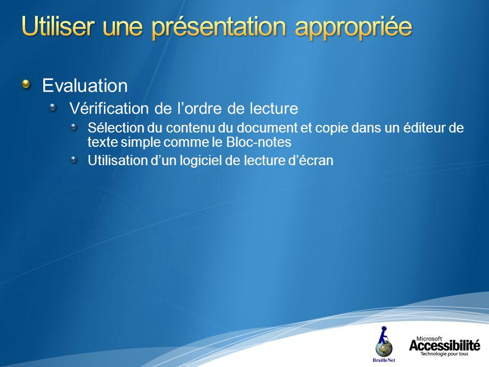 Evaluation Vérification de lordre de lecture Sélection du contenu du document et copie dans un éditeur de texte simple comme le Bloc-notes Utilisation dun logiciel de lecture décran
