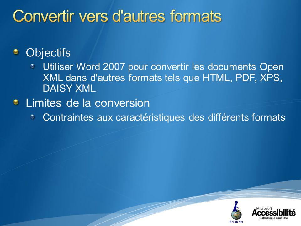 Objectifs Utiliser Word 2007 pour convertir les documents Open XML dans d autres formats tels que HTML, PDF, XPS, DAISY XML Limites de la conversion Contraintes aux caractéristiques des différents formats