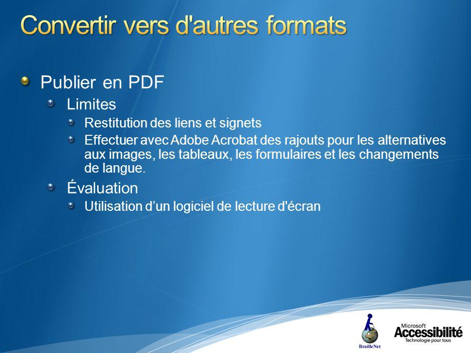 Publier en PDF Limites Restitution des liens et signets Effectuer avec Adobe Acrobat des rajouts pour les alternatives aux images, les tableaux, les formulaires et les changements de langue.