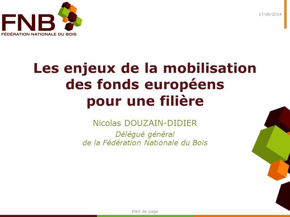 Les enjeux de la mobilisation des fonds européens pour une filière Nicolas DOUZAIN-DIDIER Délégué général de la Fédération Nationale du Bois 17/06/201