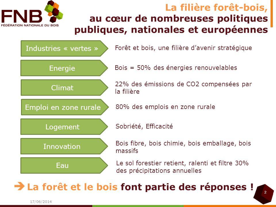 La filière forêt-bois, au cœur de nombreuses politiques publiques, nationales et européennes 17/06/2014 2 Forêt et bois, une filière davenir stratégiq