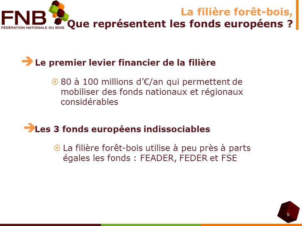 5 La filière forêt-bois, Que représentent les fonds européens ? Le premier levier financier de la filière 80 à 100 millions d/an qui permettent de mob