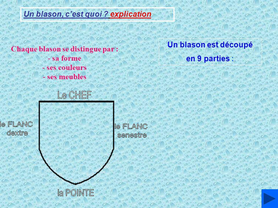 Un blason, cest quoi ? explication 1 23 45 6 789 Un blason est découpé en 9 parties : Chaque blason se distingue par : - sa forme - ses couleurs - ses