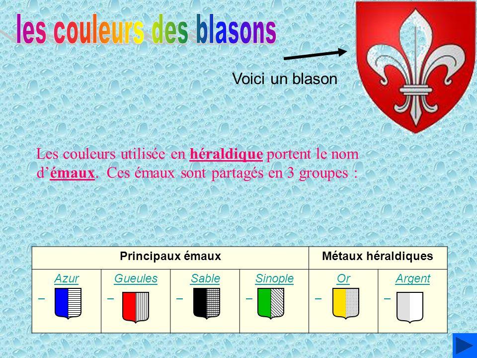 Voici un blason Principaux émauxMétaux héraldiques Azur Azur Gueules Gueules Sable Sable Sinople Sinople Or Or Argent Argent Les couleurs utilisée en