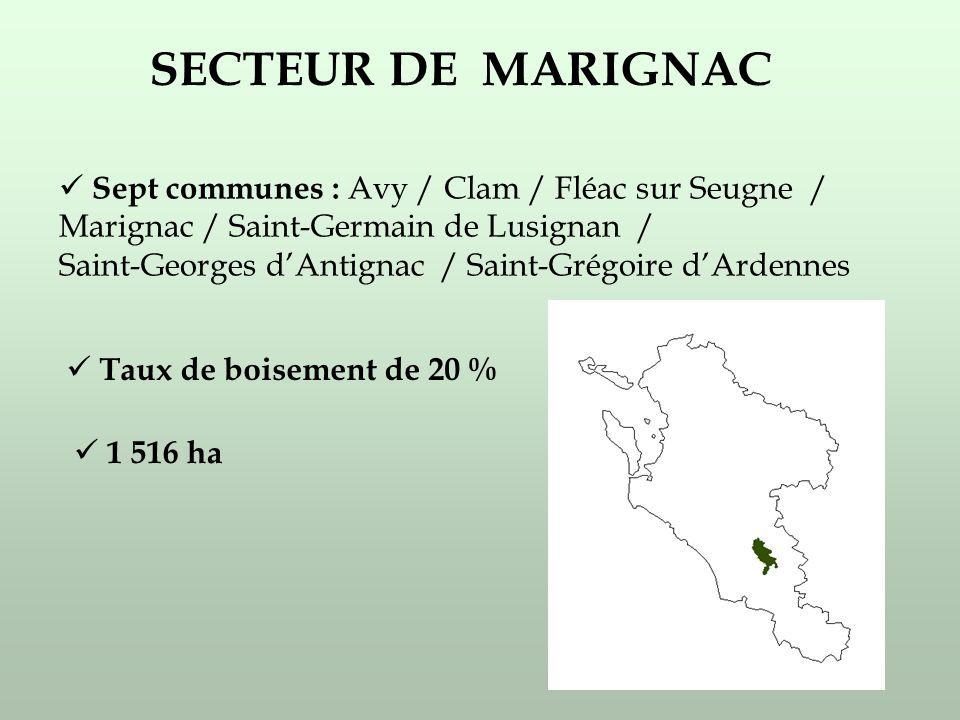 SECTEUR DE MARIGNAC Sept communes : Avy / Clam / Fléac sur Seugne / Marignac / Saint-Germain de Lusignan / Saint-Georges dAntignac / Saint-Grégoire dArdennes Taux de boisement de 20 % 1 516 ha