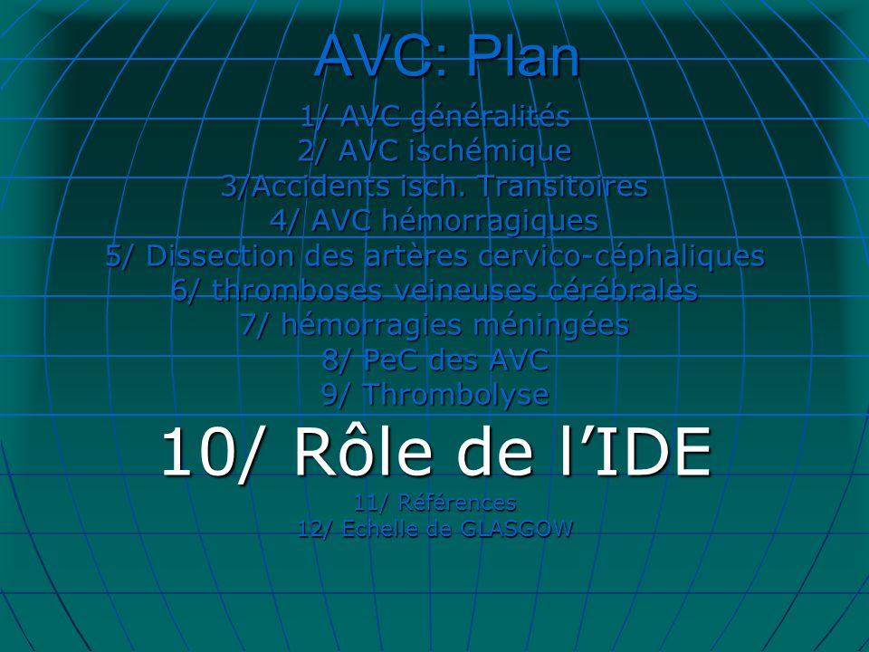 AVC: Plan 1/ AVC généralités 2/ AVC ischémique 3/Accidents isch. Transitoires 4/ AVC hémorragiques 5/ Dissection des artères cervico-céphaliques 6/ th