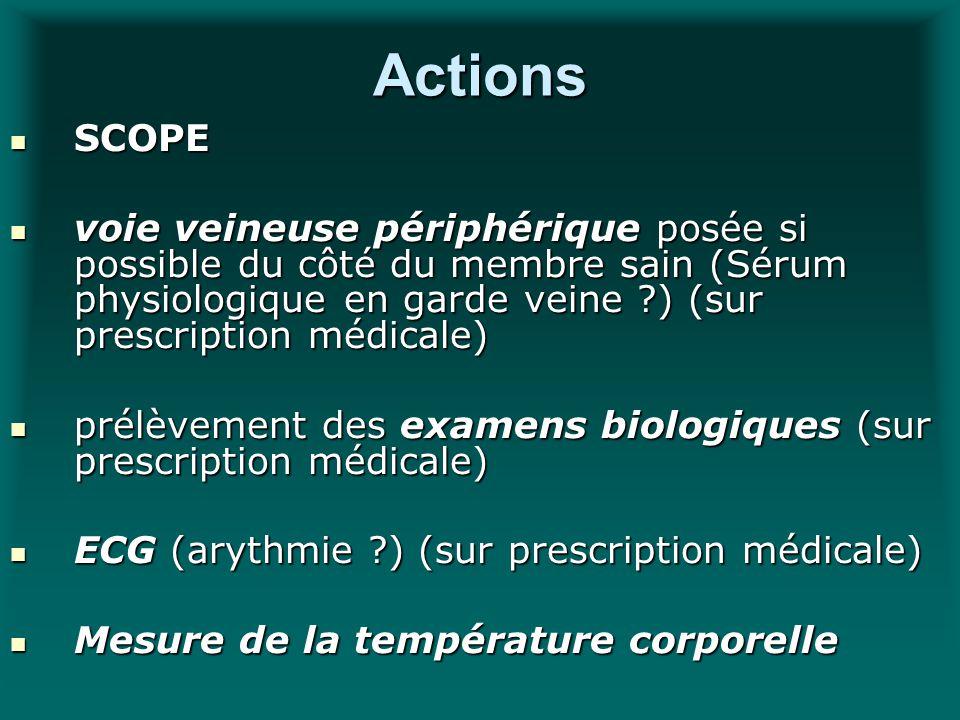 Actions SCOPE SCOPE voie veineuse périphérique posée si possible du côté du membre sain (Sérum physiologique en garde veine ?) (sur prescription médic