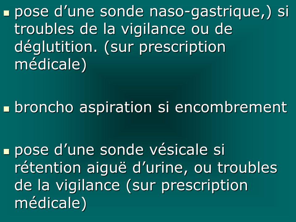 pose dune sonde naso-gastrique,) si troubles de la vigilance ou de déglutition. (sur prescription médicale) pose dune sonde naso-gastrique,) si troubl