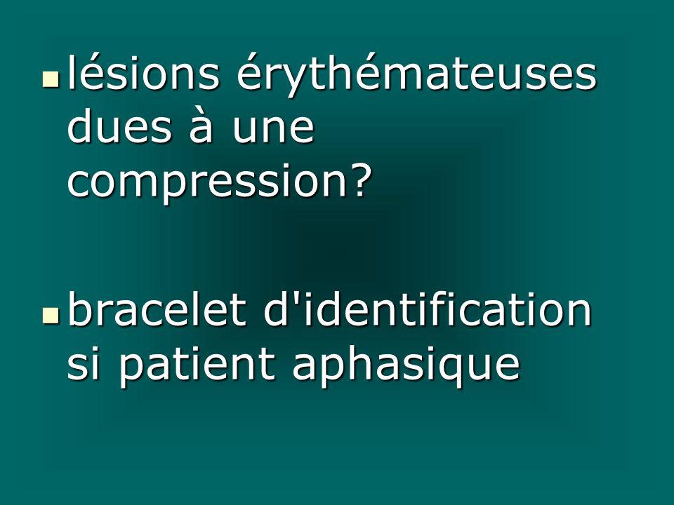 lésions érythémateuses dues à une compression? lésions érythémateuses dues à une compression? bracelet d'identification si patient aphasique bracelet