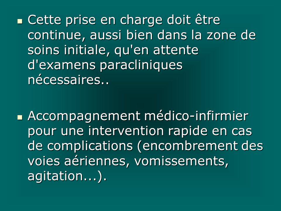 Cette prise en charge doit être continue, aussi bien dans la zone de soins initiale, qu'en attente d'examens paracliniques nécessaires.. Cette prise e