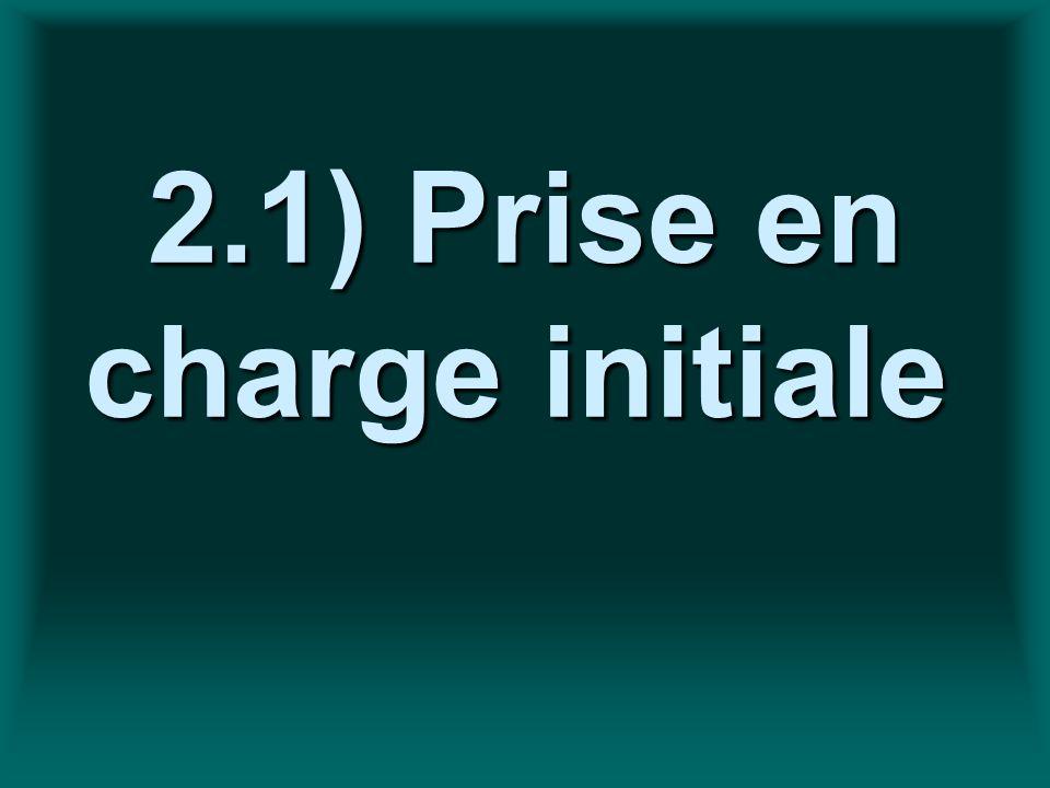 2.1) Prise en charge initiale 2.1) Prise en charge initiale