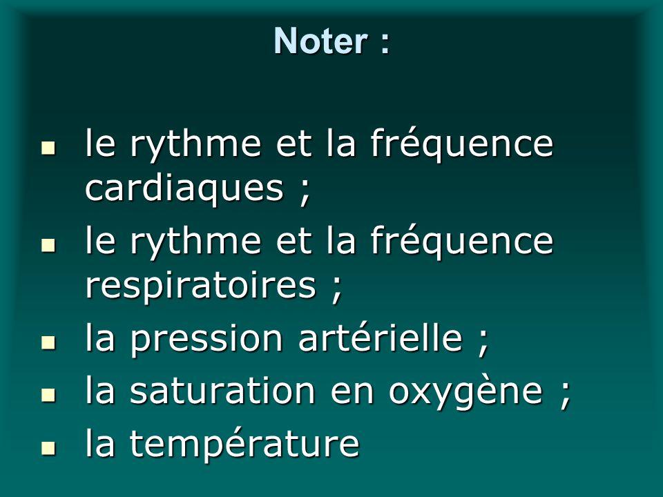 Noter : le rythme et la fréquence cardiaques ; le rythme et la fréquence cardiaques ; le rythme et la fréquence respiratoires ; le rythme et la fréque