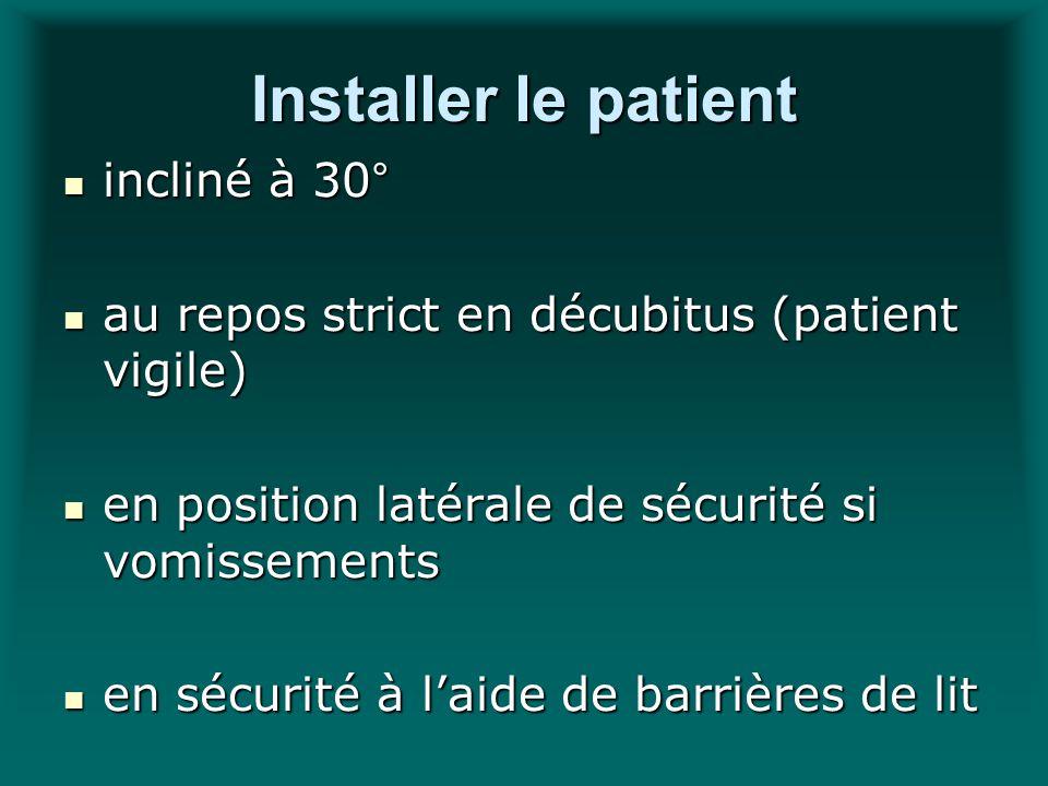 Installer le patient incliné à 30° incliné à 30° au repos strict en décubitus (patient vigile) au repos strict en décubitus (patient vigile) en positi