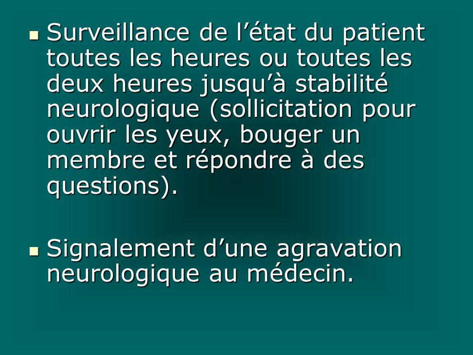 Surveillance de létat du patient toutes les heures ou toutes les deux heures jusquà stabilité neurologique (sollicitation pour ouvrir les yeux, bouger