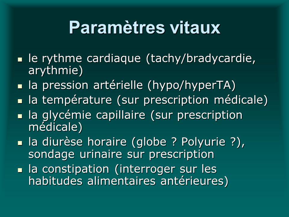 Paramètres vitaux le rythme cardiaque (tachy/bradycardie, arythmie) le rythme cardiaque (tachy/bradycardie, arythmie) la pression artérielle (hypo/hyp