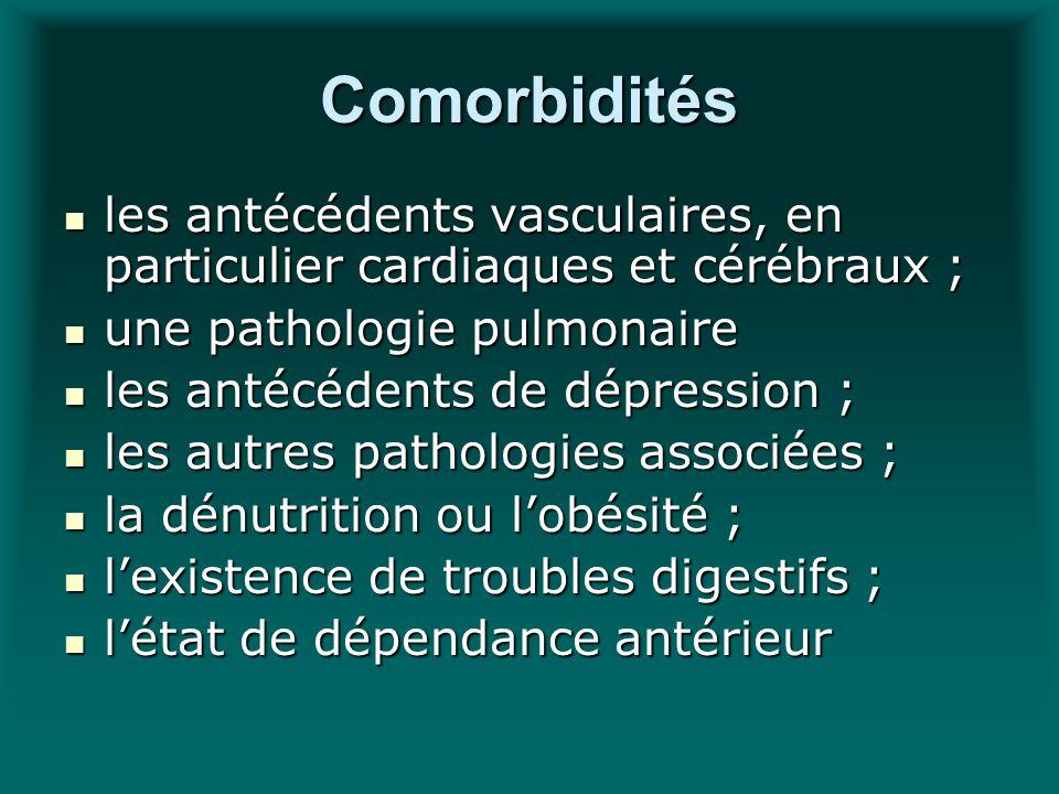 Comorbidités les antécédents vasculaires, en particulier cardiaques et cérébraux ; les antécédents vasculaires, en particulier cardiaques et cérébraux