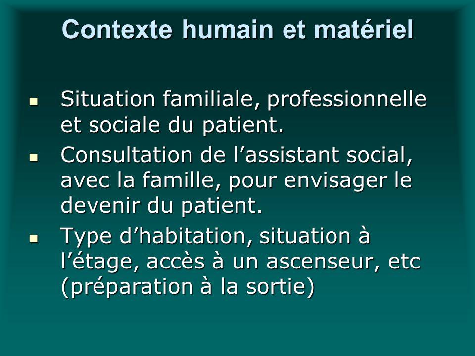 Contexte humain et matériel Situation familiale, professionnelle et sociale du patient. Situation familiale, professionnelle et sociale du patient. Co