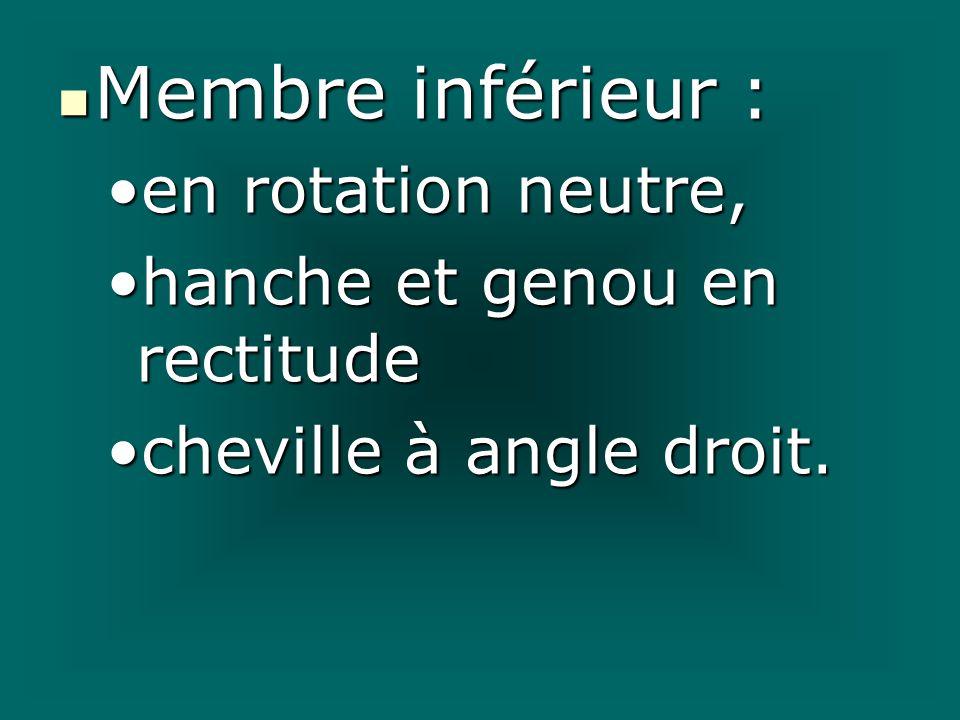 Membre inférieur : Membre inférieur : en rotation neutre,en rotation neutre, hanche et genou en rectitudehanche et genou en rectitude cheville à angle