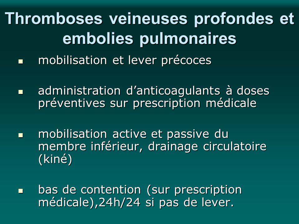 Thromboses veineuses profondes et embolies pulmonaires mobilisation et lever précoces mobilisation et lever précoces administration danticoagulants à