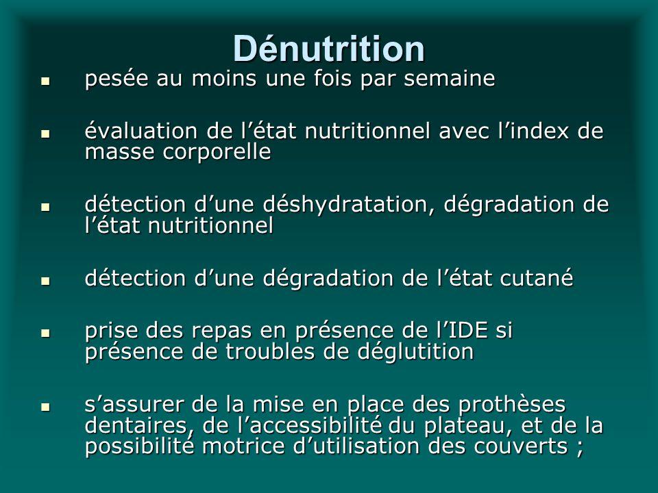 Dénutrition pesée au moins une fois par semaine pesée au moins une fois par semaine évaluation de létat nutritionnel avec lindex de masse corporelle é