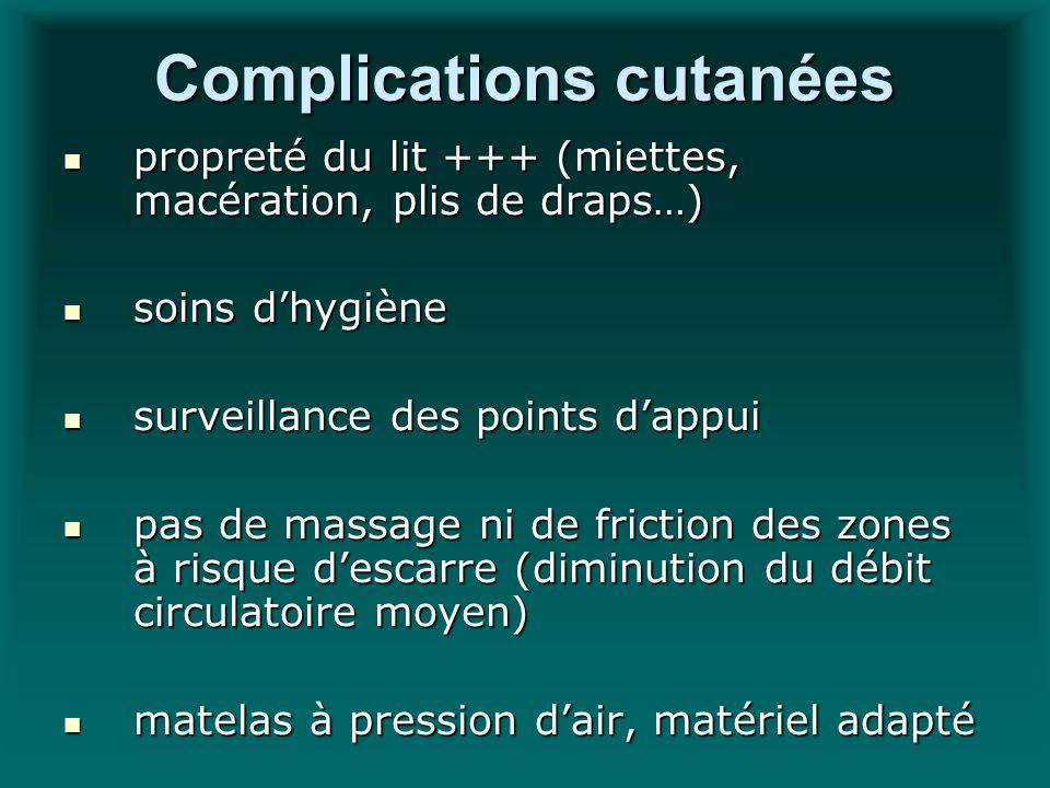 Complications cutanées propreté du lit +++ (miettes, macération, plis de draps…) propreté du lit +++ (miettes, macération, plis de draps…) soins dhygi