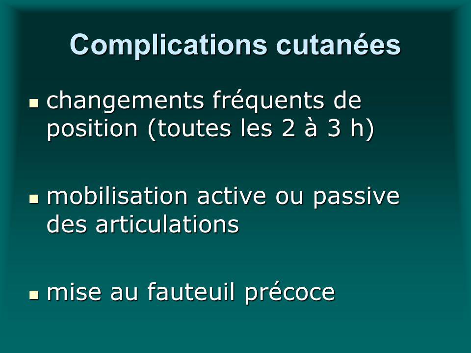 Complications cutanées changements fréquents de position (toutes les 2 à 3 h) changements fréquents de position (toutes les 2 à 3 h) mobilisation acti