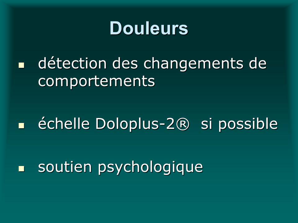 Douleurs détection des changements de comportements détection des changements de comportements échelle Doloplus-2® si possible échelle Doloplus-2® si
