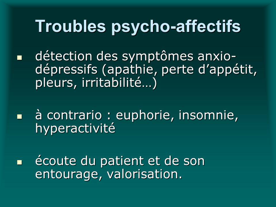 Troubles psycho-affectifs détection des symptômes anxio- dépressifs (apathie, perte dappétit, pleurs, irritabilité…) détection des symptômes anxio- dé
