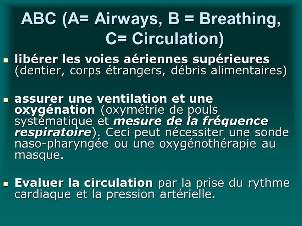 ABC (A= Airways, B = Breathing, C= Circulation) libérer les voies aériennes supérieures (dentier, corps étrangers, débris alimentaires) libérer les vo