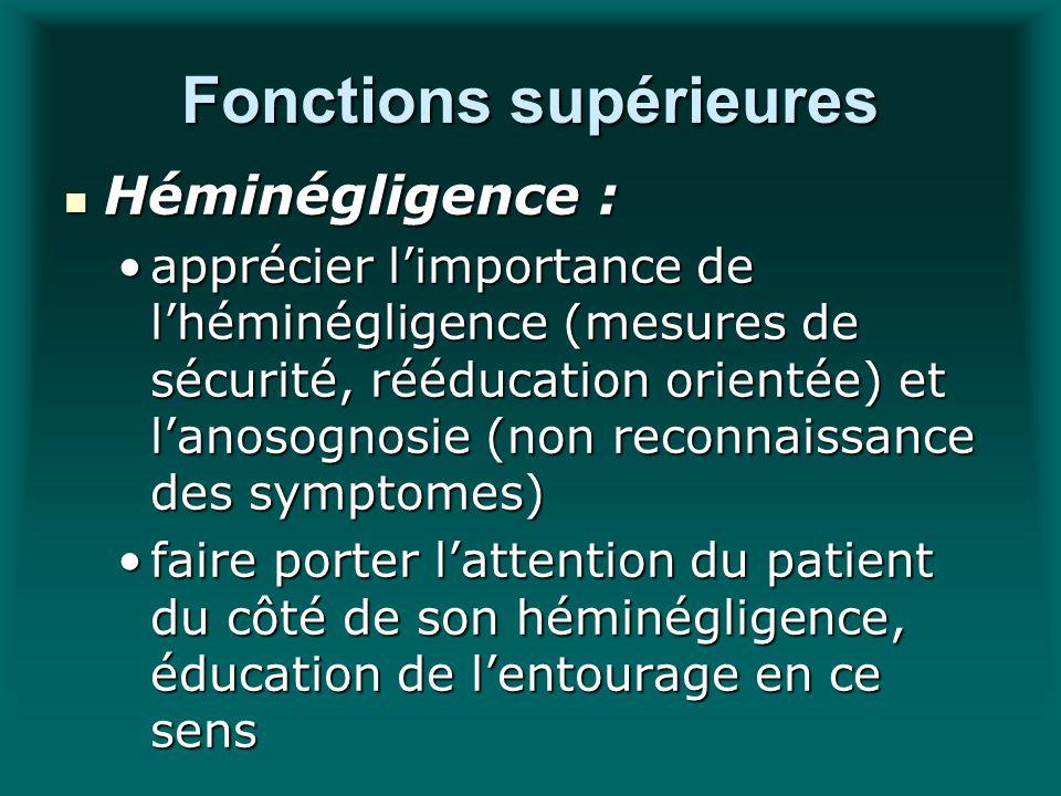 Fonctions supérieures Héminégligence : Héminégligence : apprécier limportance de lhéminégligence (mesures de sécurité, rééducation orientée) et lanoso