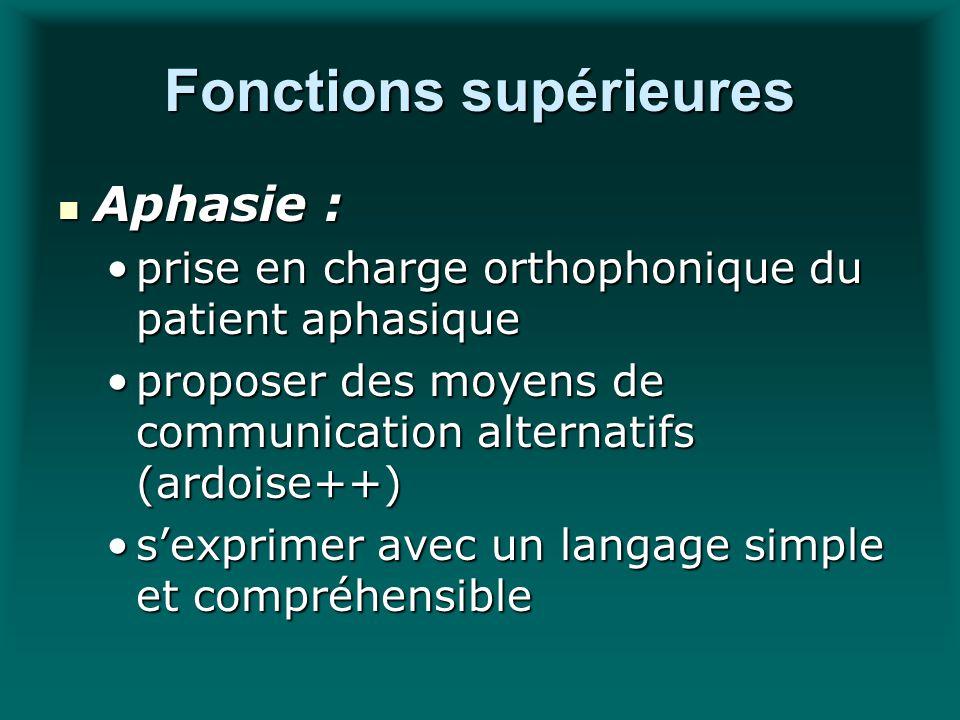 Fonctions supérieures Aphasie : Aphasie : prise en charge orthophonique du patient aphasiqueprise en charge orthophonique du patient aphasique propose