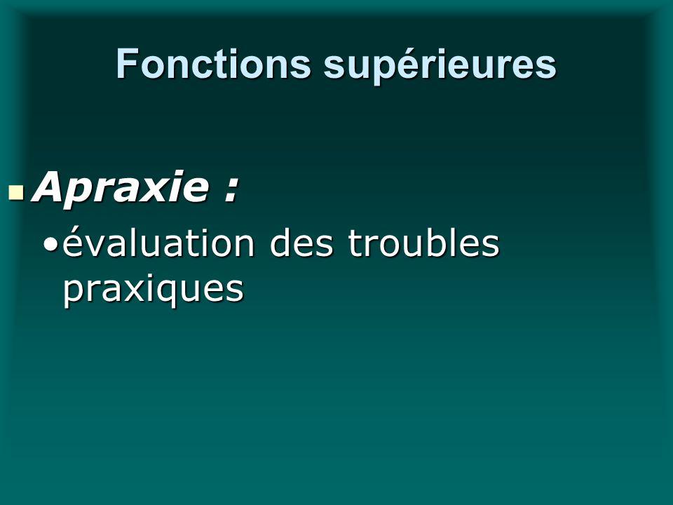 Fonctions supérieures Apraxie : Apraxie : évaluation des troubles praxiquesévaluation des troubles praxiques