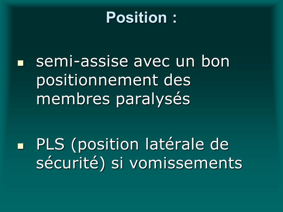 Position : semi-assise avec un bon positionnement des membres paralysés semi-assise avec un bon positionnement des membres paralysés PLS (position lat