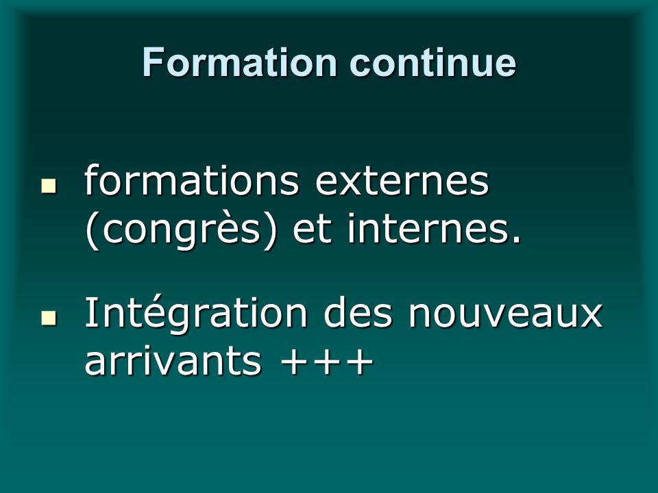 Formation continue formations externes (congrès) et internes. formations externes (congrès) et internes. Intégration des nouveaux arrivants +++ Intégr