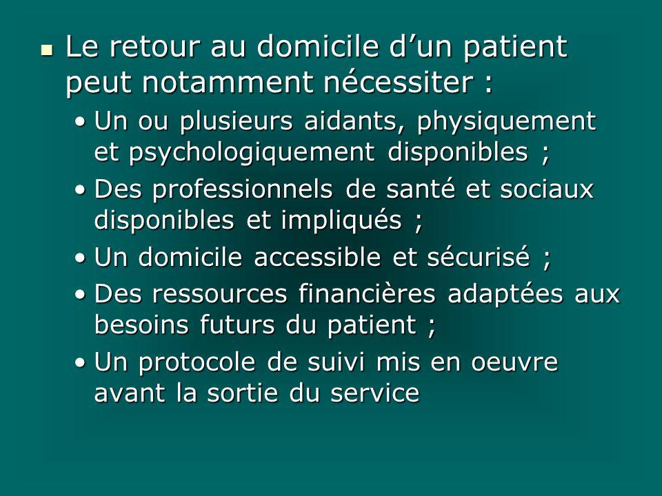 Le retour au domicile dun patient peut notamment nécessiter : Le retour au domicile dun patient peut notamment nécessiter : Un ou plusieurs aidants, p