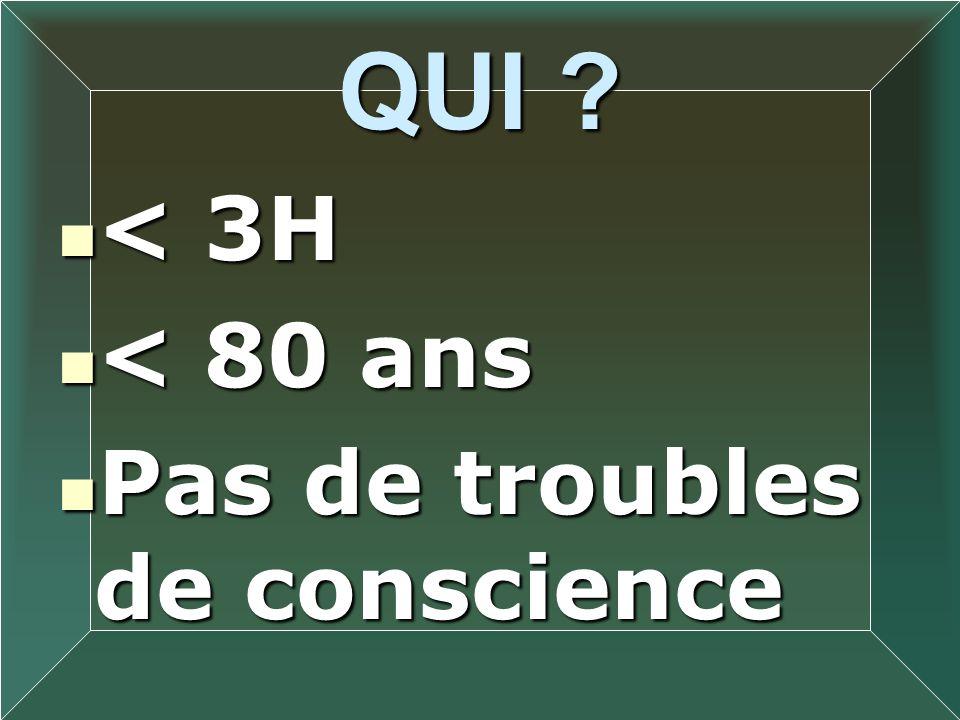 QUI ? < 3H < 3H < 80 ans < 80 ans Pas de troubles de conscience Pas de troubles de conscience