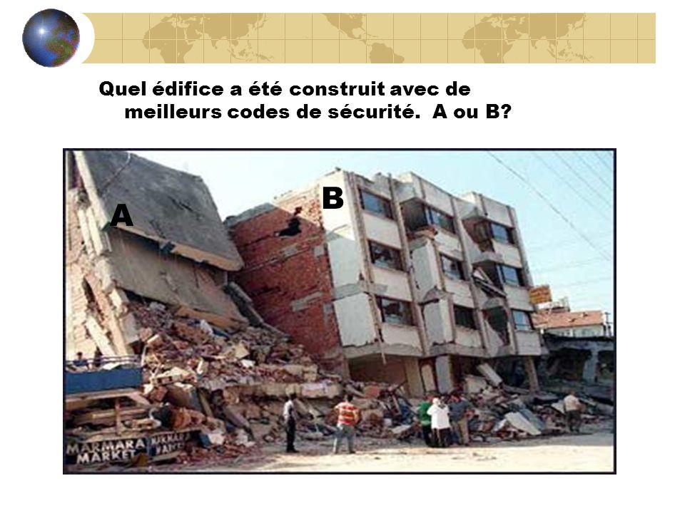 Quel édifice a été construit avec de meilleurs codes de sécurité. A ou B? A B