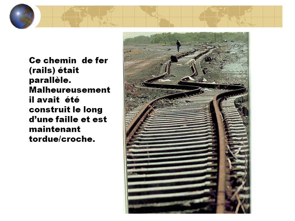 Ce chemin de fer (rails) était parallèle. Malheureusement il avait été construit le long dune faille et est maintenant tordue/croche.